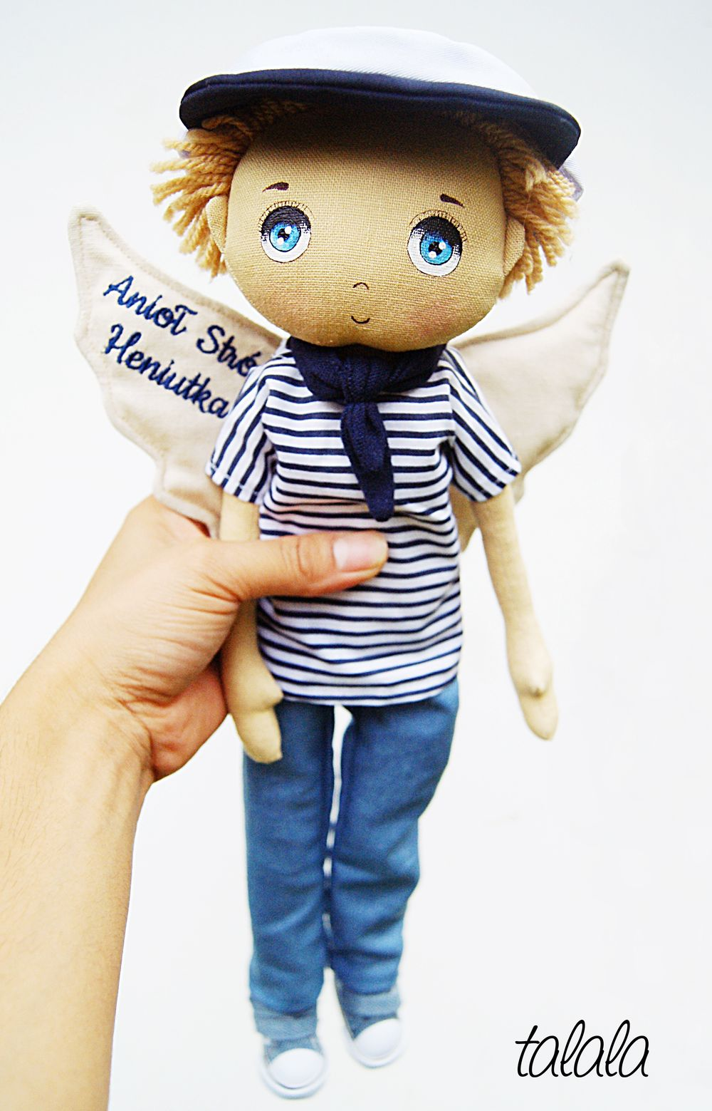 lalka z ubrankami styl marynarski lalki handmade