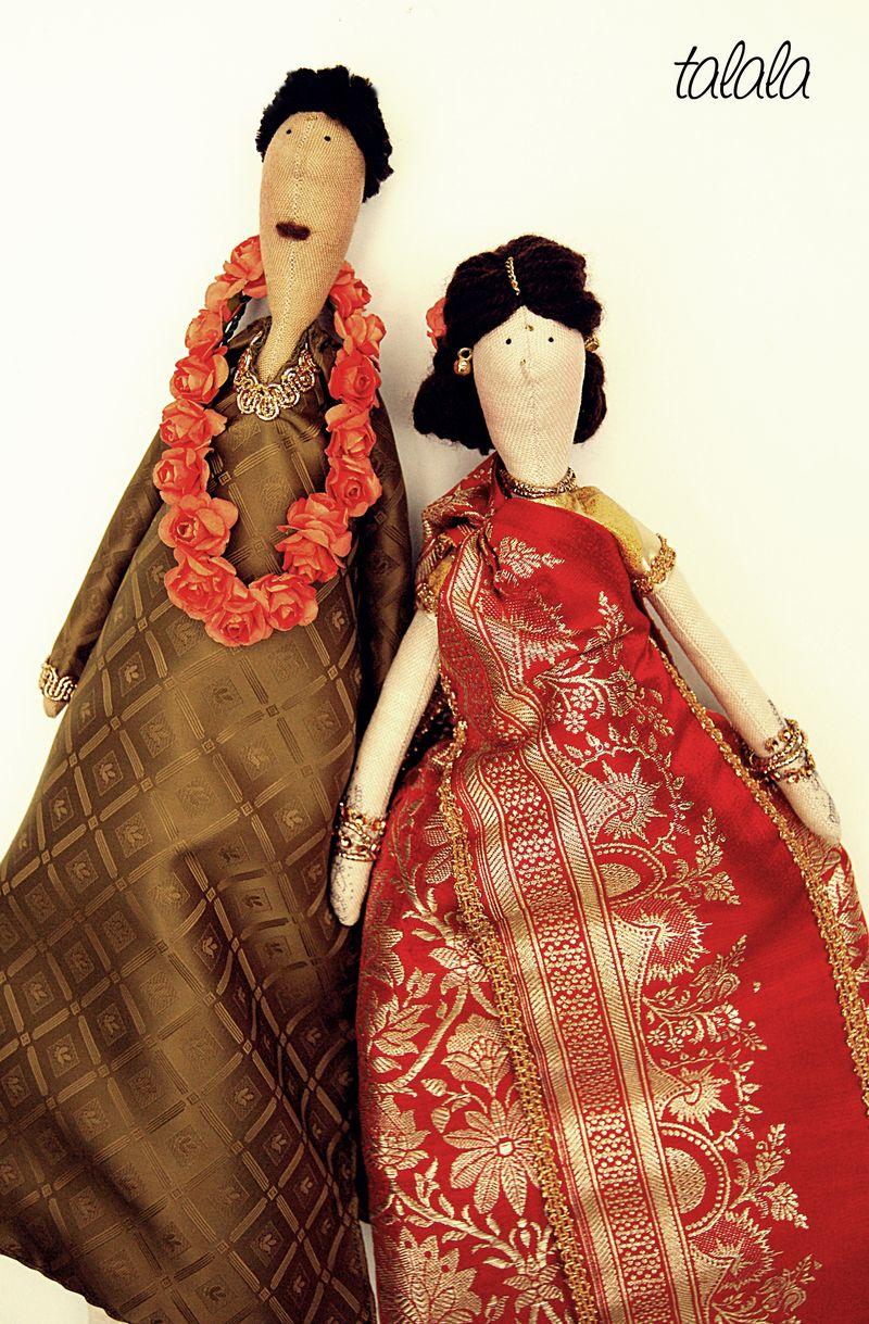 ręcznie robione lalki Ślubne
