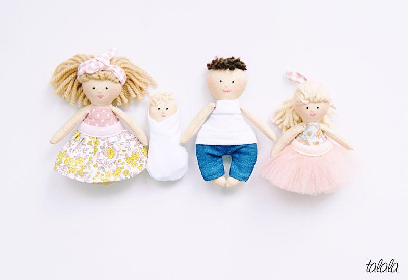 szmaciane lalki do domku dla lalek